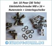 Set 10 pairs of: stainless steel screw M8 x 16 + nut. Solar mounting profile. PV.