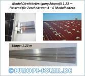 Montageschiene Direktbefestigung Modul. 1.23m. Zuschnitt für 4 – 6 Halter Solar. OHNE