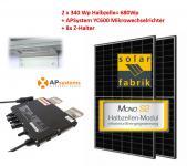 Paket: 2x Trina 340Wp + APSystems Mikrowechselrichter Wieland Stecker + 8x Z-Halter
