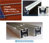 2x Solar Aluprofil Länge 1.24 - 1.7 - 2m. 40x40mm Für PV Dachhaken Stockschraube