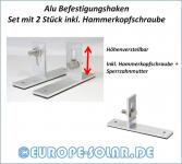 Solar Hook for trapezoidal sheet metal roof. Set with 2 pieces including drilling screws. Mounting hooks.
