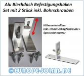 Solar Hook for trapezoidal mounting  sheet metal roof. Set with 2 pieces including drilling screws. Mounting hooks.