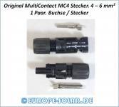 1 x  Paar MC4 Original MultiContact. Für 4 - 6mm² Solarkabel. Stecker & Buchse.