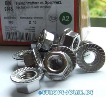 10 Stck Flanschmutter M10 Sperrzahnmuttern, DIN 6923 A2 EDELSTAHL V2A M10