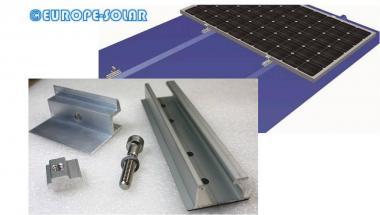 Trapezoidal cross attachment. Mini rail. With end clamp. trapezoidal sheet