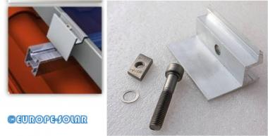 Solar end clamp, frame height 35mm. Set with screw / hammer head sliding nut