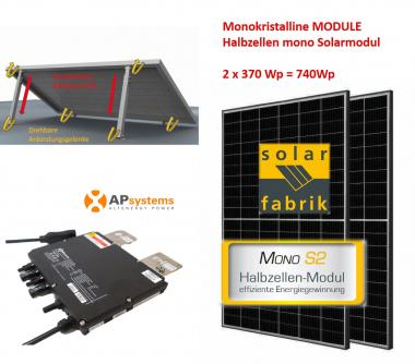 740Wp Balkonkraftwerk 2x Halbzellen Solarmodul +APSystems +Vario Aufständerung