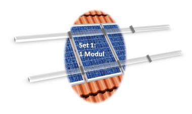 PV Befestigungskit 1 Modul (max 115cm je Modul) Dachhaken Aluprofil Solar 1 Modul