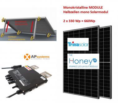680Wp Balkonkraftwerk 2x Halbzellen Solarmodul +APSystems +Vario Aufständerung