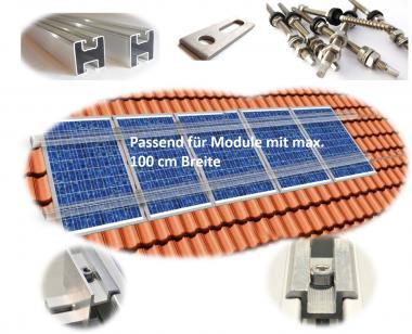 PV Befestigungskit 1 - 6 Module (bis ~100cm je Modul) Stockschraube Aluprofil Solar