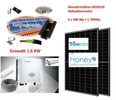 1700Wp Photovoltaikanlage Growatt + Trina + Gestell Ziegeldach (nur Abholung)