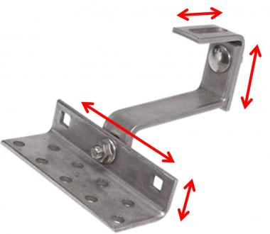 Roof hook 3x adjustable. Stainless steel. Solar mounting for bricks.