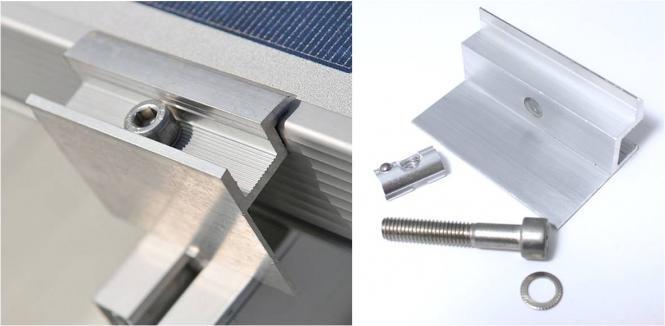 Photovoltaik Befestigungsset Endklemme für Solarmodule mit Rahmenhöhe 40 mm 40 mm