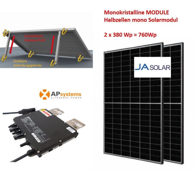 760Wp Balkonkraftwerk 2x Halbzellen Solarmodul +APSystems +Vario Aufständerung