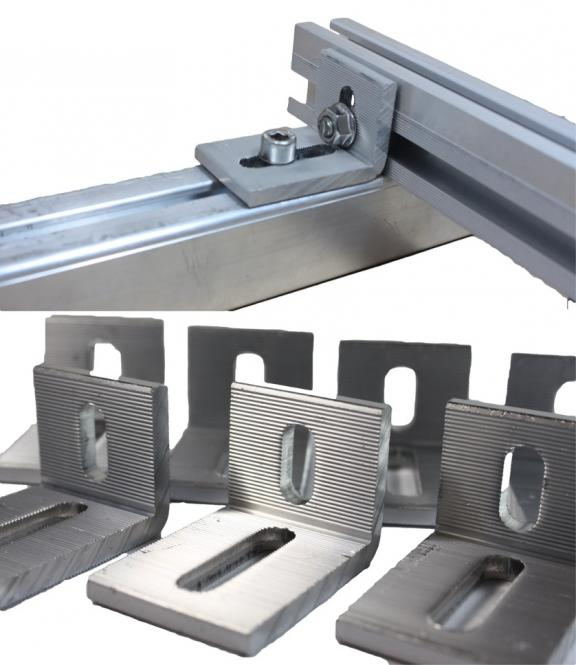 Alu 90 ° angle. PV connection bracket aluminum rail. Cross bracing. Solar. Interconnects.