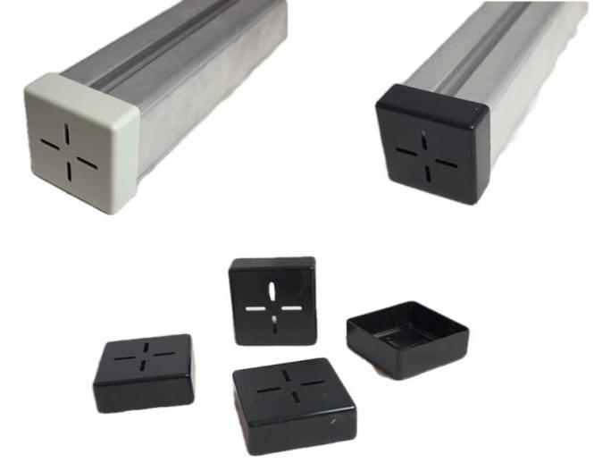 4 x Endkappe Solarschiene. Abdeckkappe PV Profil. Grau 40x40 mm Grau