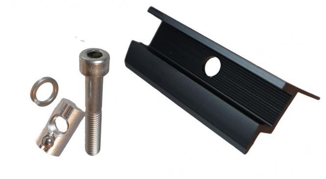 Solar Endklemme. SCHWARZ. Set mit Schraube & Nutenstein. Rahmenhöhe 30mm, 32mm, 35mm, 40mm