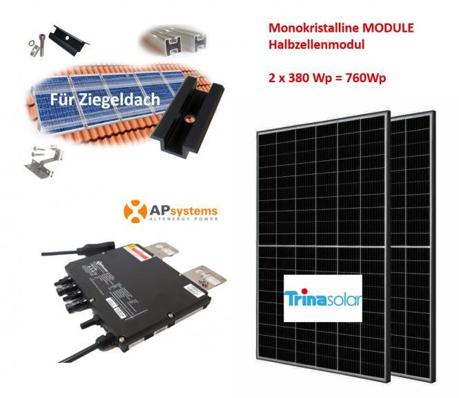 760Wp Minikraftwerk 2x Halbzellen Solarmodul +APSystems für Ziegeldach