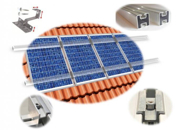 PV Befestigungskit 2 Module (max 100cm je Modul) Dachhaken Aluprofil Solar 2 Module