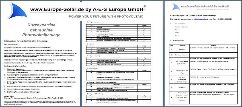 Kurzexpertise gebrauchte Photovoltaikanlage
