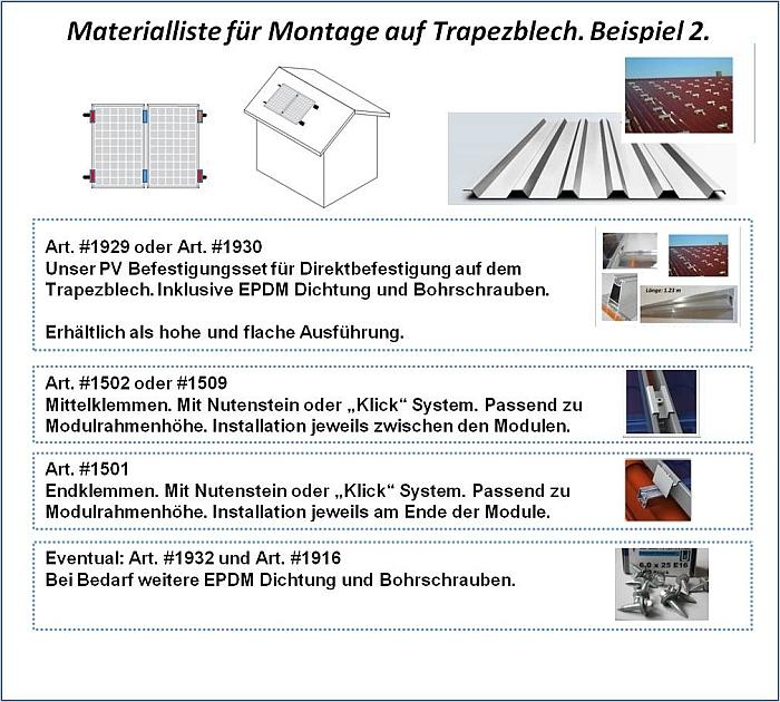 MateriallisteTrapezblechdach PV
