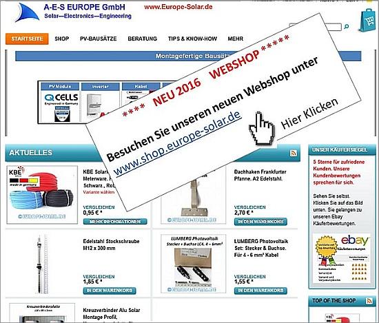 Webshop www.shop.europe-solar.de